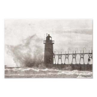 Nature's Fury Lighthouse Photographic Print