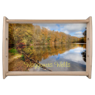 Nature scene autumn leaves color reflecting serving tray