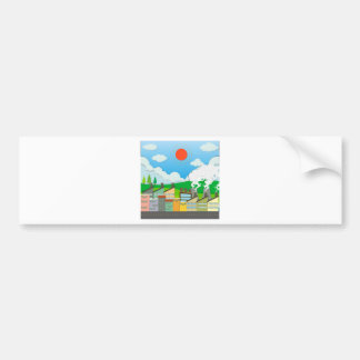 Nature scene with lightwave and house by the beach bumper sticker
