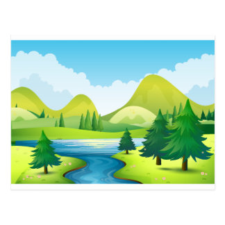 Nature scene with river and hills postcard