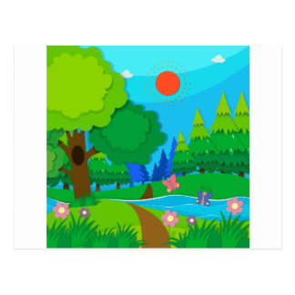 Nature scene with trees and river postcard