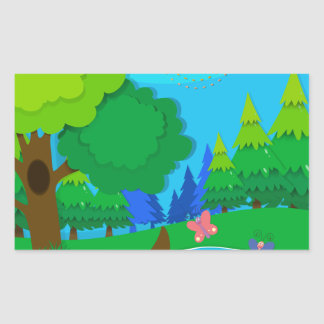 Nature scene with trees and river rectangular sticker