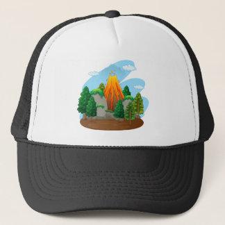 Nature scene with volcano eruption trucker hat