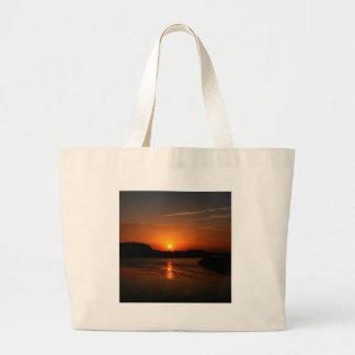 Nature Sunset Dark Rocky Coast Canvas Bags