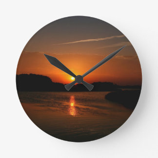 Nature Sunset Dark Rocky Coast Round Clocks
