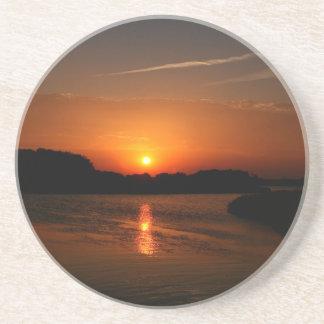 Nature Sunset Dark Rocky Coast Drink Coaster