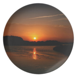 Nature Sunset Dark Rocky Coast Dinner Plates