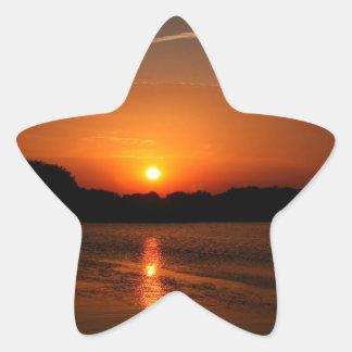 Nature Sunset Dark Rocky Coast Star Stickers
