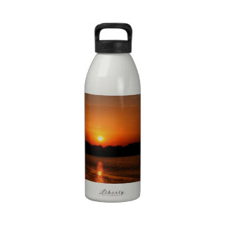 Nature Sunset Dark Rocky Coast Water Bottle