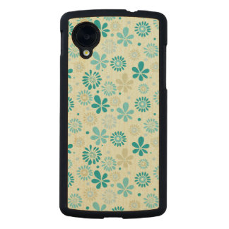Nature Turquoise Abstract Sunshine Floral Pattern Carved® Maple Nexus 5 Slim Case