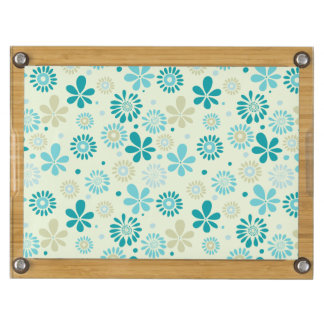 Nature Turquoise Abstract Sunshine Floral Pattern Rectangular Cheeseboard