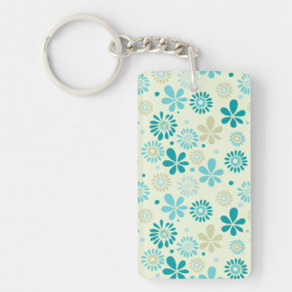 Nature Turquoise Abstract Sunshine Floral Pattern Double-Sided Rectangular Acrylic Key Ring