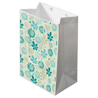 Nature Turquoise Abstract Sunshine Floral Pattern Medium Gift Bag