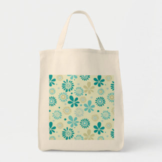 Nature Turquoise Abstract Sunshine Floral Pattern Grocery Tote Bag
