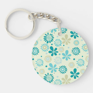Nature Turquoise Abstract Sunshine Floral Pattern Double-Sided Round Acrylic Key Ring