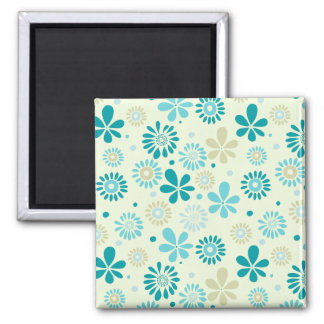 Nature Turquoise Abstract Sunshine Floral Pattern Square Magnet
