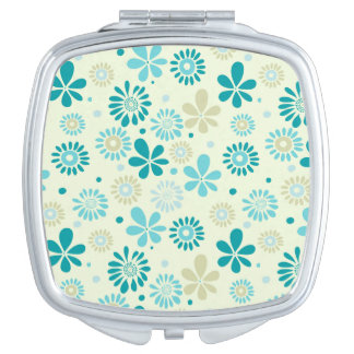Nature Turquoise Abstract Sunshine Floral Pattern Mirrors For Makeup