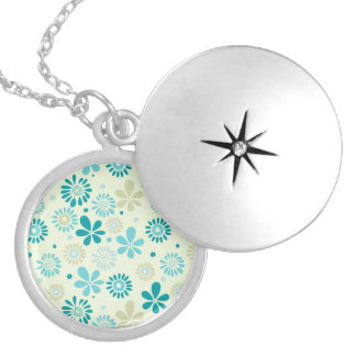 Nature Turquoise Abstract Sunshine Floral Pattern Round Locket Necklace