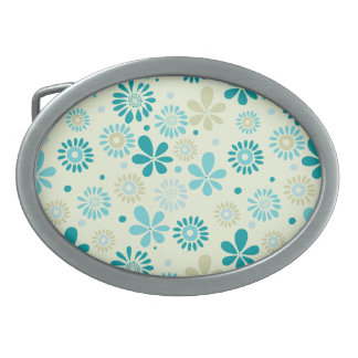Nature Turquoise Abstract Sunshine Floral Pattern Oval Belt Buckles