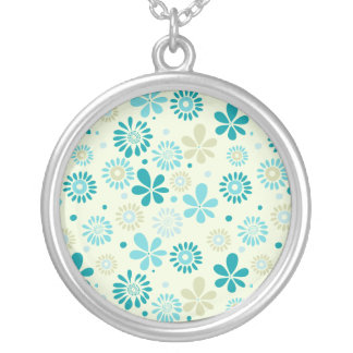 Nature Turquoise Abstract Sunshine Floral Pattern Round Pendant Necklace