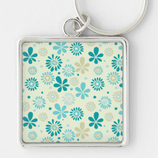 Nature Turquoise Abstract Sunshine Floral Pattern Silver-Colored Square Key Ring