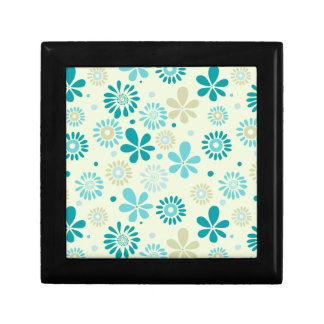Nature Turquoise Abstract Sunshine Floral Pattern Small Square Gift Box