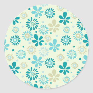Nature Turquoise Abstract Sunshine Floral Pattern Round Sticker