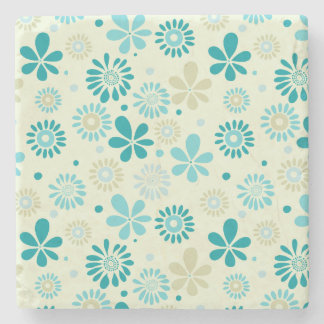 Nature Turquoise Abstract Sunshine Floral Pattern Stone Coaster