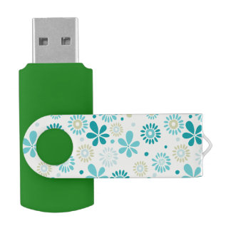 Nature Turquoise Abstract Sunshine Floral Pattern Swivel USB 2.0 Flash Drive