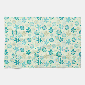 Nature Turquoise Abstract Sunshine Floral Pattern Tea Towel