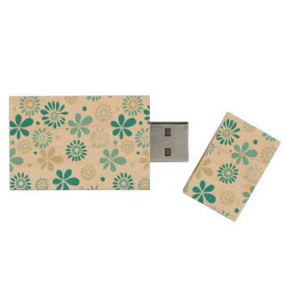 Nature Turquoise Abstract Sunshine Floral Pattern Wood USB 2.0 Flash Drive