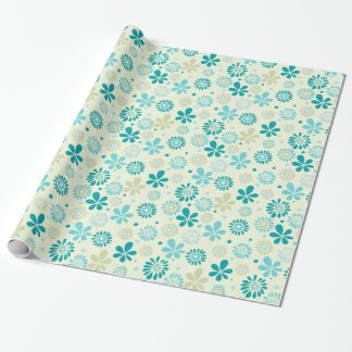 Nature Turquoise Abstract Sunshine Floral Pattern Wrapping Paper