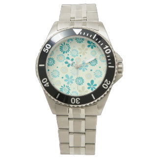 Nature Turquoise Abstract Sunshine Floral Pattern Wristwatches