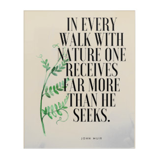 Nature Walk Muir Quote Acrylic Wall Art