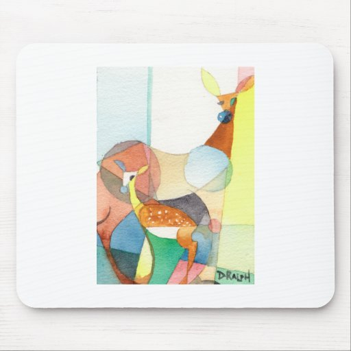"""Nature Watercolor """"Doe and Fawn"""" Mousepads"""