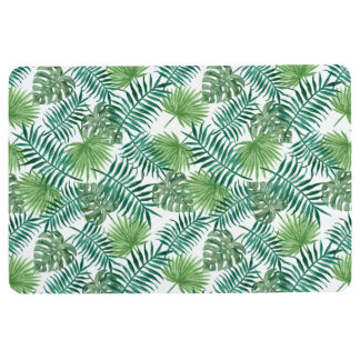 Nature watercolor tropical green leaf Floor Mat