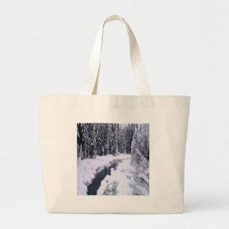 Nature Winter Snowy River Tote Bag
