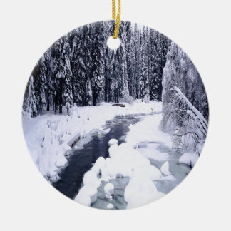 Nature Winter Snowy River Round Ceramic Decoration