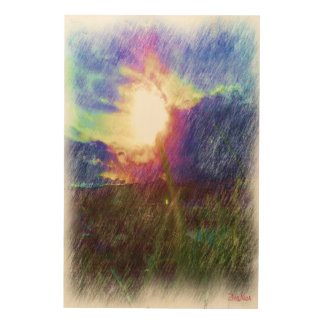 Nature with the sun looking like a flower wood print