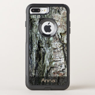 Nature Wood Old Pine Bark Photo Custom Text OtterBox Commuter iPhone 8 Plus/7 Plus Case