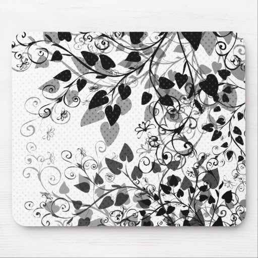 Natures Black White Floral mousepad