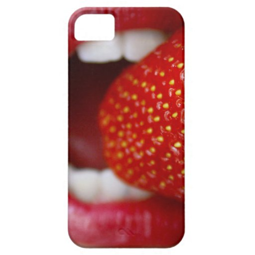 Nature's Candy - Woman Eating Strawberry iPhone 5 Cases