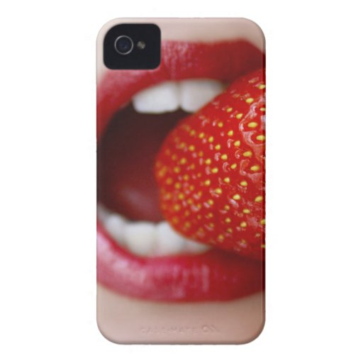 Nature's Candy - Woman Eating Strawberry iPhone 4 Case