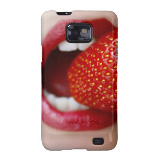 Nature's Candy - Woman Eating Strawberry Galaxy SII Cases