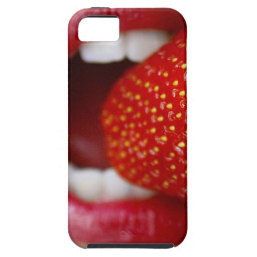 Nature's Candy - Woman Eating Strawberry iPhone 5 Cover