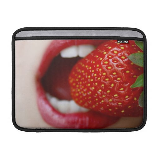 Nature's Candy - Woman Eating Strawberry MacBook Air Sleeves