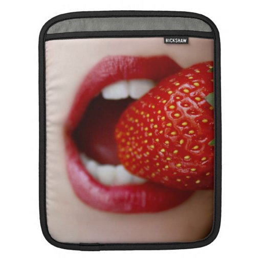 Nature's Candy - Woman Eating Strawberry iPad Sleeves