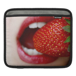 Nature's Candy - Woman Eating Strawberry Sleeves For iPads