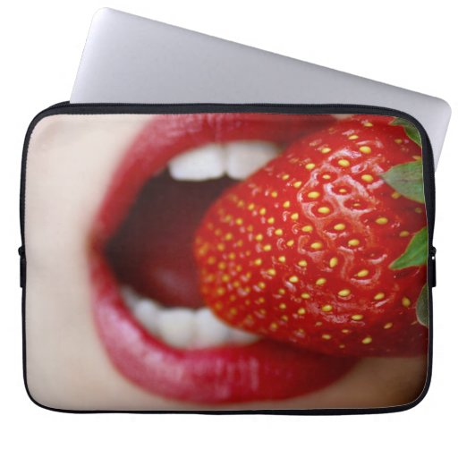 Nature's Candy - Woman Eating Strawberry Laptop Computer Sleeve