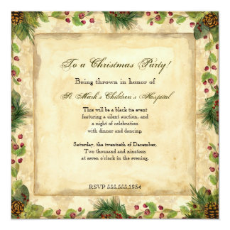 Nature's Christmas Magnolia Wreath n Pine Boughs 13 Cm X 13 Cm Square Invitation Card